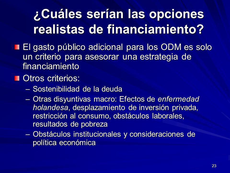 23 ¿Cuáles serían las opciones realistas de financiamiento.