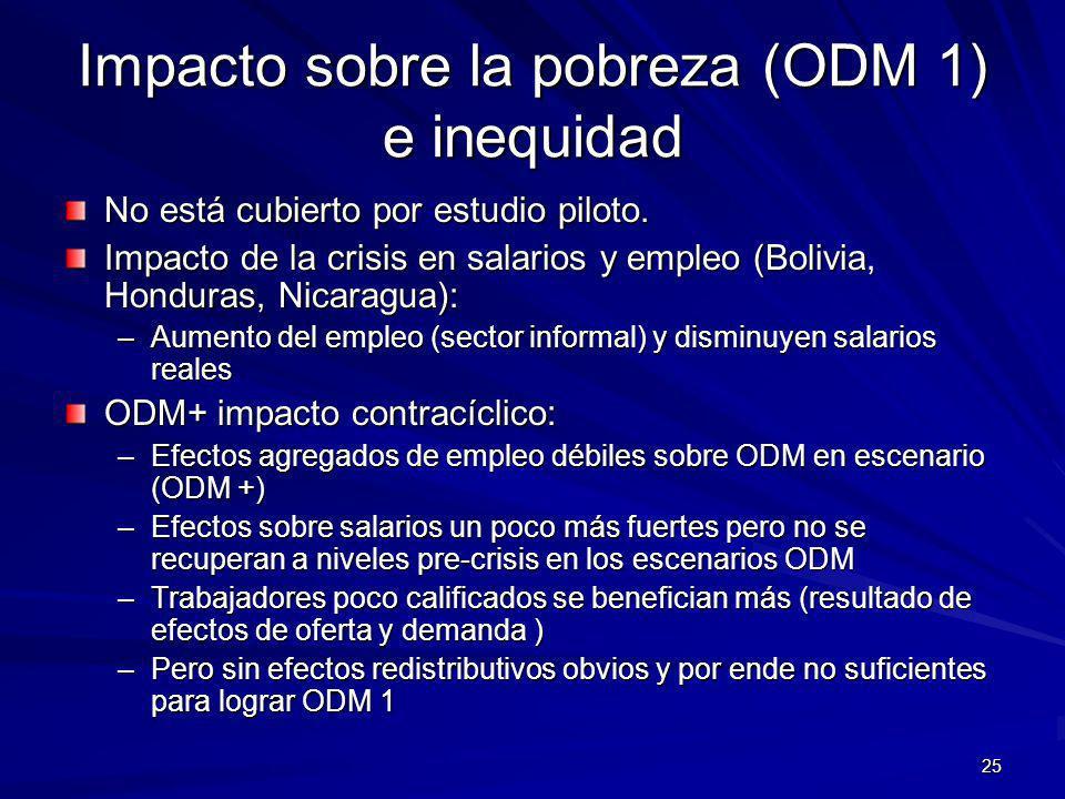 25 Impacto sobre la pobreza (ODM 1) e inequidad No está cubierto por estudio piloto.
