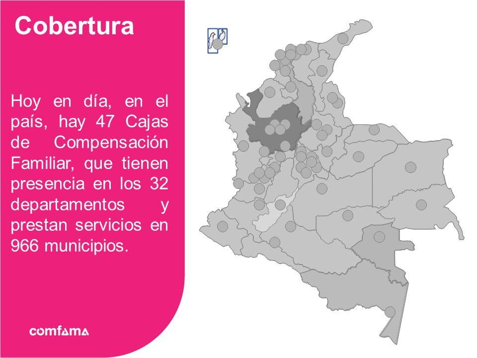 Hoy en día, en el país, hay 47 Cajas de Compensación Familiar, que tienen presencia en los 32 departamentos y prestan servicios en 966 municipios.