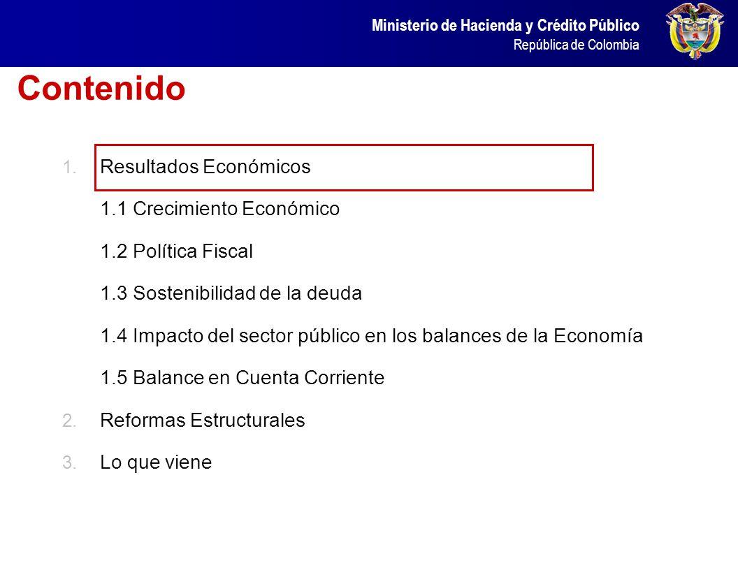 Ministerio de Hacienda y Crédito Público República de Colombia Ministerio de Hacienda y Crédito Público República de Colombia EMPLEO, CRECIMIENTO ECON