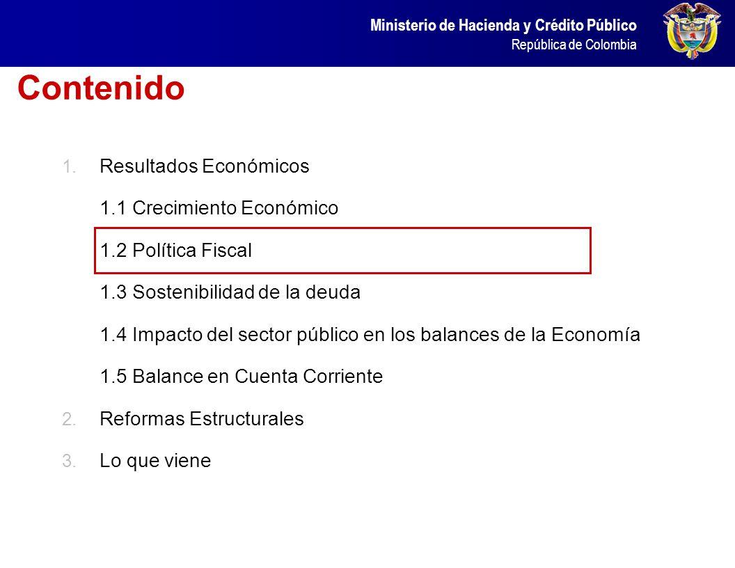 Ministerio de Hacienda y Crédito Público República de Colombia El crecimiento económico de los últimos años ha permitido un aumento de la tasa de ahor