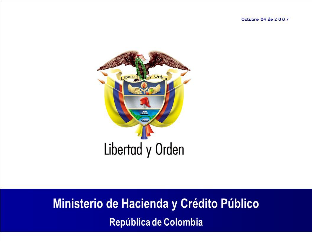 Ministerio de Hacienda y Crédito Público República de Colombia Reglamentación de Zonas Francas