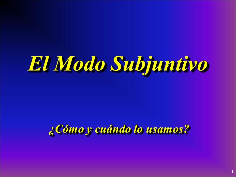 1 El Modo Subjuntivo ¿Cómo y cuándo lo usamos?
