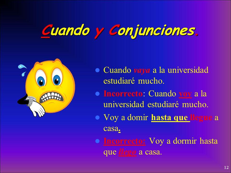 Usos del subjuntivo Cuando y con Conjunciones Incertidumbre Deseos, Duda y Desacuerdo Emociones Expresiones Impersonales/Indefinidas/No existentes Neg