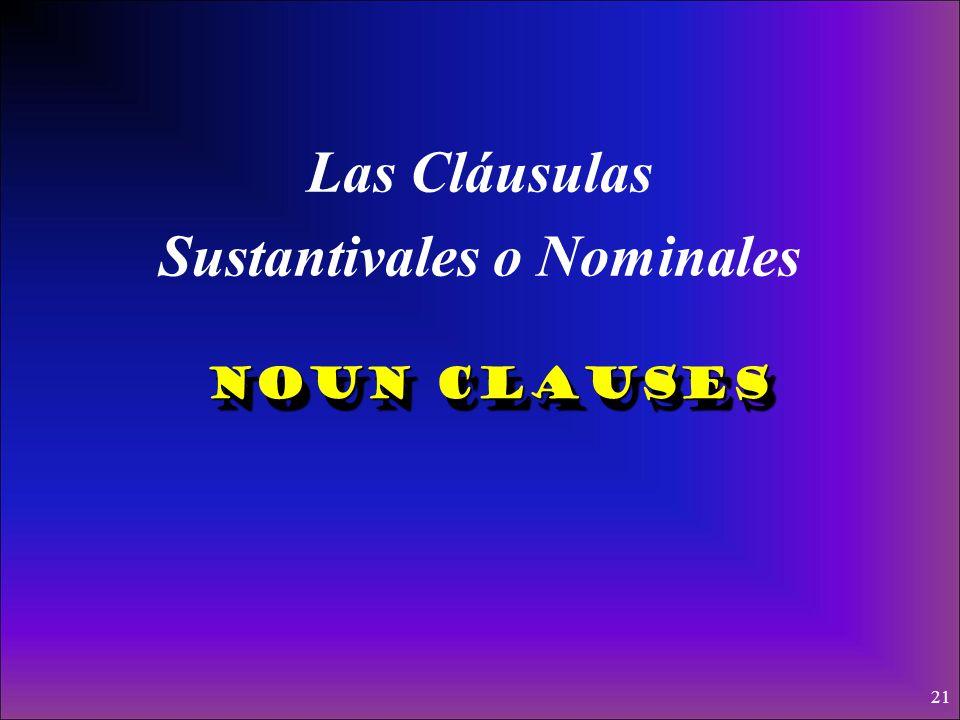 Una cláusula es un grupo de palabras que tienen un verbo conjugado y un sujeto. En una cláusula sustantiva subordinada un grupo de palabras funcionan
