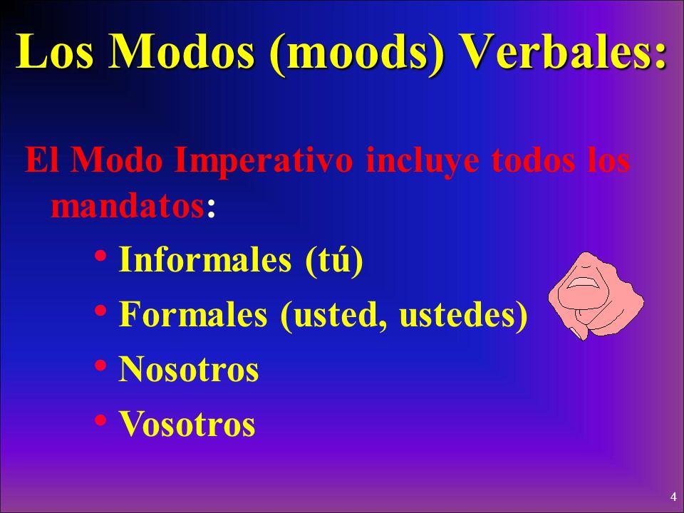 3 Los Modos (moods) Verbales: El Modo Indicativo incluye: El presente (o, as, a, amos, áis, an..etc) El pretérito y el imperfecto El futuro El condici