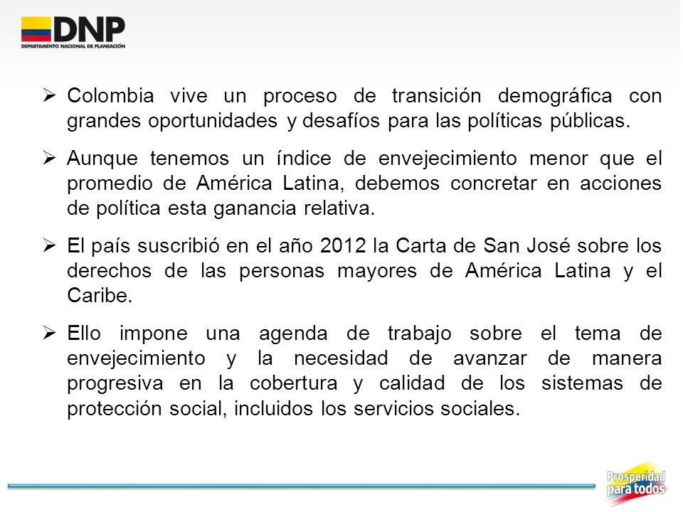 Colombia vive un proceso de transición demográfica con grandes oportunidades y desafíos para las políticas públicas. Aunque tenemos un índice de envej