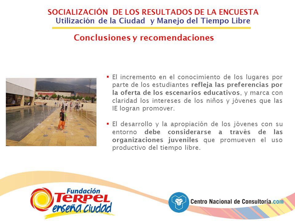 SOCIALIZACIÓN DE LOS RESULTADOS DE LA ENCUESTA Utilización de la Ciudad y Manejo del Tiempo Libre Conclusiones y recomendaciones El incremento en el c