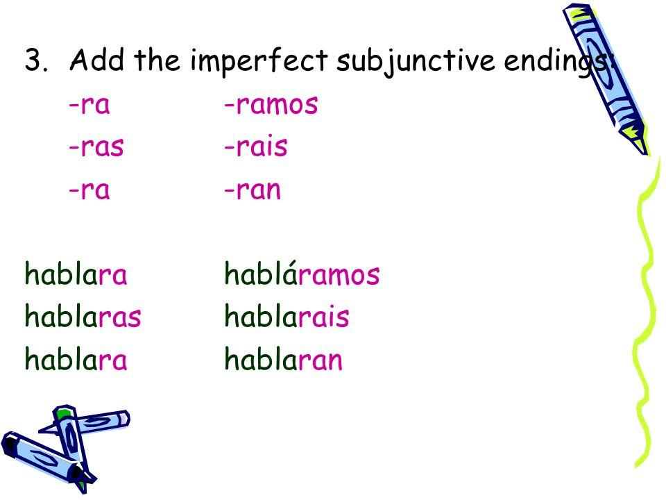3.Add the imperfect subjunctive endings: -ra-ramos -ras-rais -ra-ran hablarahabláramos hablarashablarais hablarahablaran