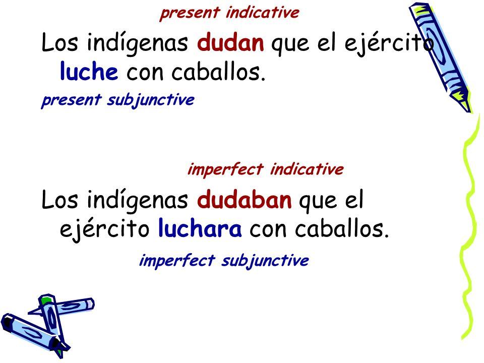 present indicative Los indígenas dudan que el ejército luche con caballos.
