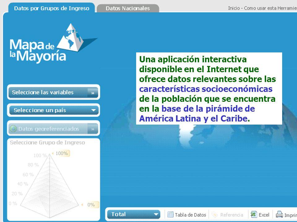 Una aplicación interactiva disponible en el Internet que ofrece datos relevantes sobre las características socioeconómicas de la población que se encu
