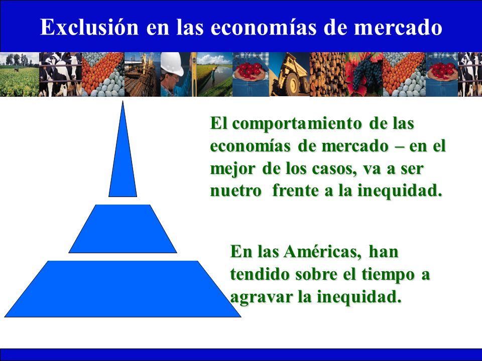 Exclusión en las economías de mercado 1 El comportamiento de las economías de mercado – en el mejor de los casos, va a ser nuetro frente a la inequida