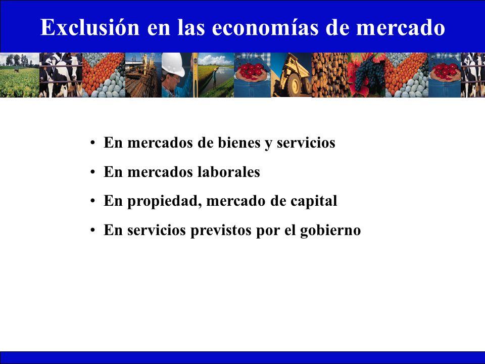 Exclusión en las economías de mercado En mercados de bienes y servicios En mercados laborales En propiedad, mercado de capital En servicios previstos