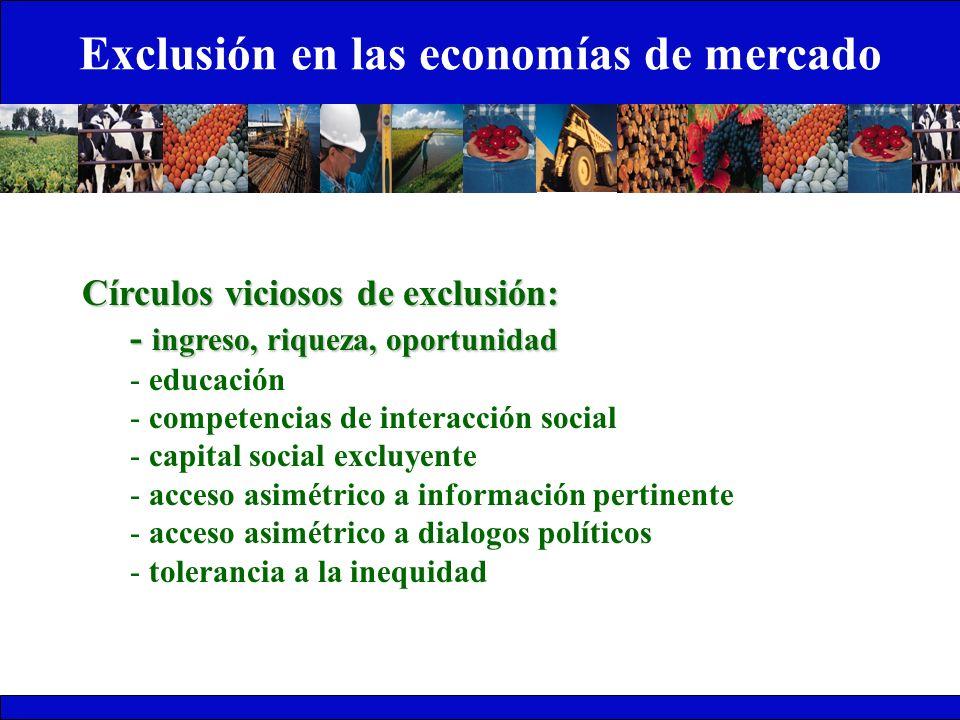 Exclusión en las economías de mercado Círculos viciosos de exclusión: - ingreso, riqueza, oportunidad - educación - competencias de interacción social