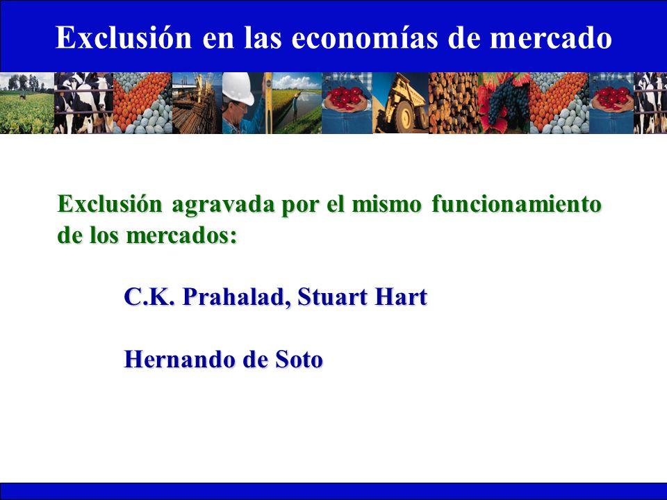 Exclusión en las economías de mercado Exclusión agravada por el mismo funcionamiento de los mercados: C.K. Prahalad, Stuart Hart Hernando de Soto