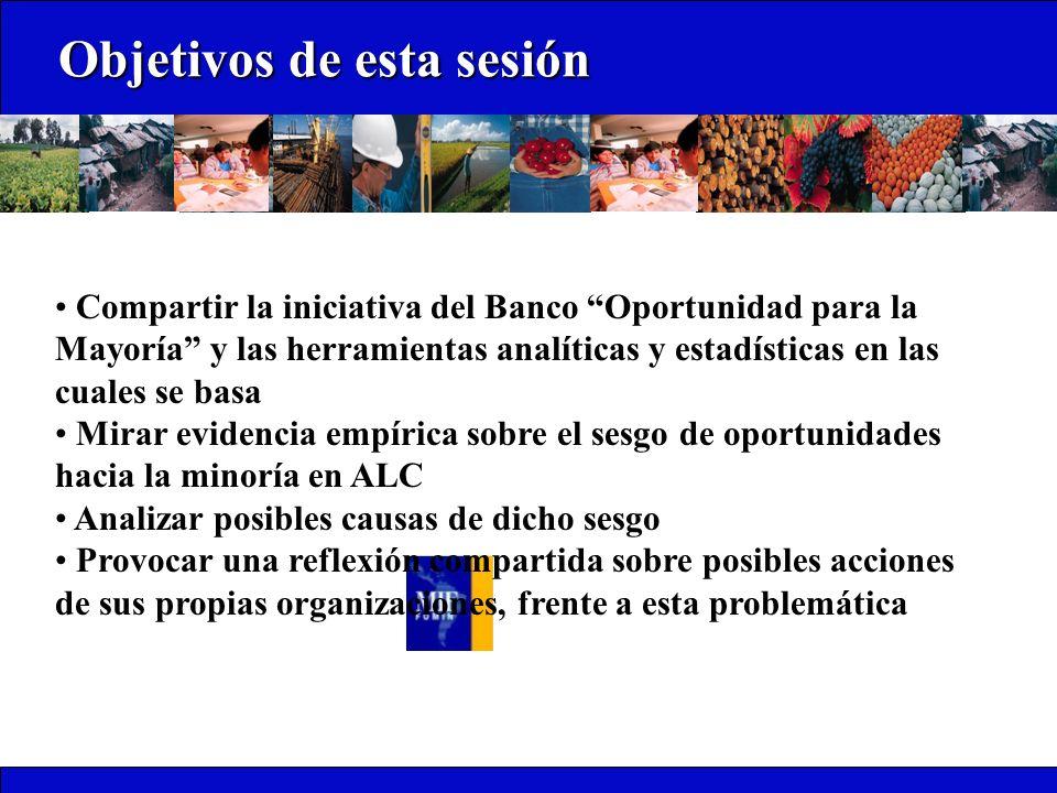 Objetivos de esta sesión Objetivos de esta sesión Compartir la iniciativa del Banco Oportunidad para la Mayoría y las herramientas analíticas y estadí