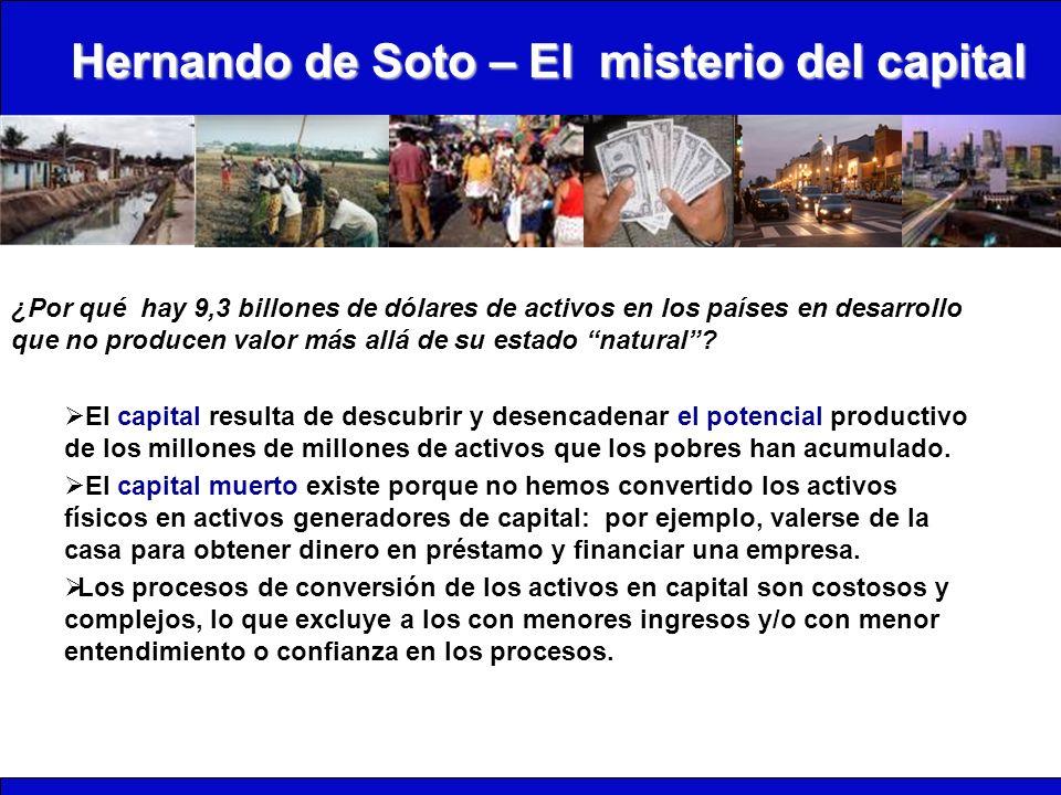 Hernando de Soto – El misterio del capital ¿Por qué hay 9,3 billones de dólares de activos en los países en desarrollo que no producen valor más allá