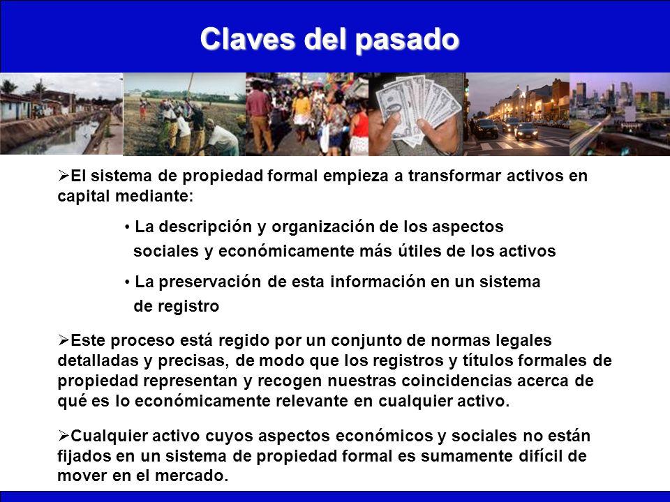 Claves del pasado El sistema de propiedad formal empieza a transformar activos en capital mediante: La descripción y organización de los aspectos soci
