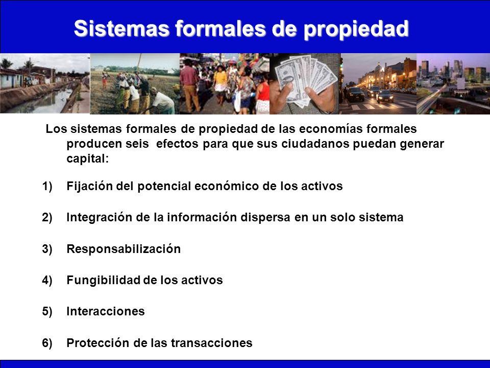 Sistemas formales de propiedad Los sistemas formales de propiedad de las economías formales producen seis efectos para que sus ciudadanos puedan gener