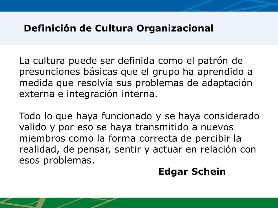 La cultura puede ser definida como el patrón de presunciones básicas que el grupo ha aprendido a medida que resolvía sus problemas de adaptación externa e integración interna.