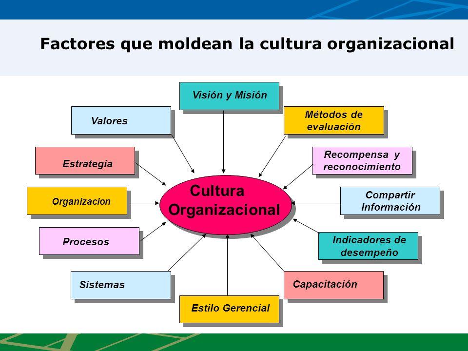 Cultura Organizacional Visión y Misión Valores Estrategia Organizacion Procesos Sistemas Estilo Gerencial Capacitación Indicadores de desempeño Indica