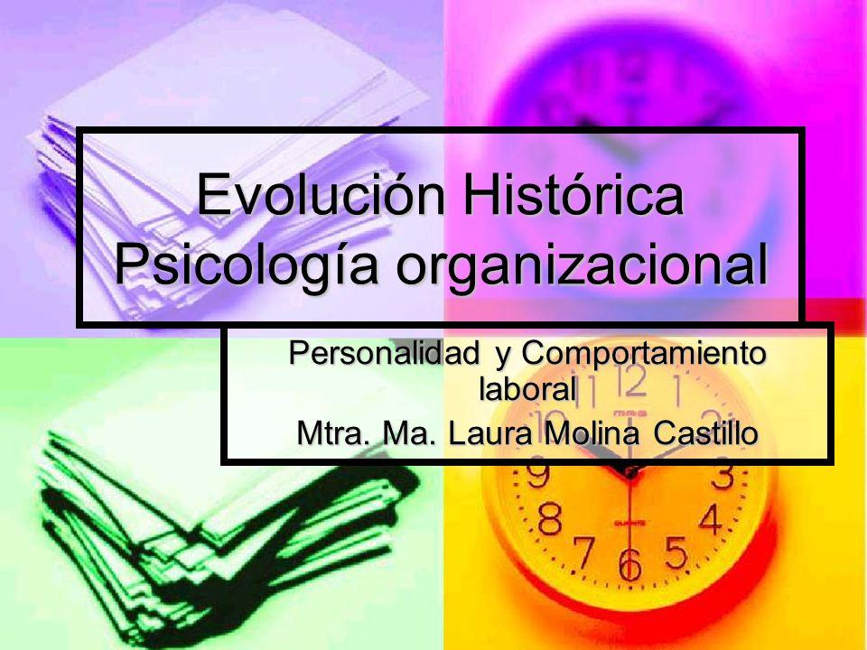 Evolución Histórica Psicología organizacional Personalidad y Comportamiento laboral Mtra. Ma. Laura Molina Castillo