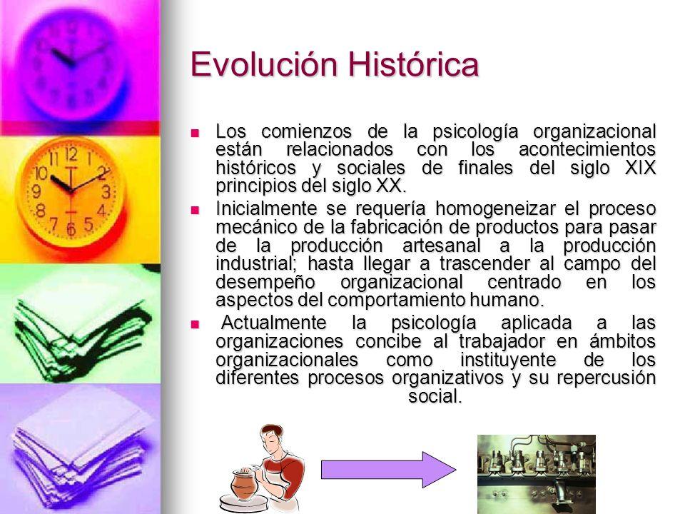 Evolución Histórica Los comienzos de la psicología organizacional están relacionados con los acontecimientos históricos y sociales de finales del sigl