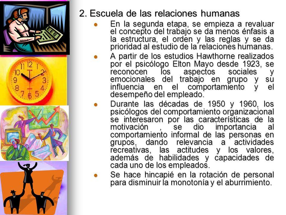 2. Escuela de las relaciones humanas En la segunda etapa, se empieza a revaluar el concepto del trabajo se da menos énfasis a la estructura, el orden