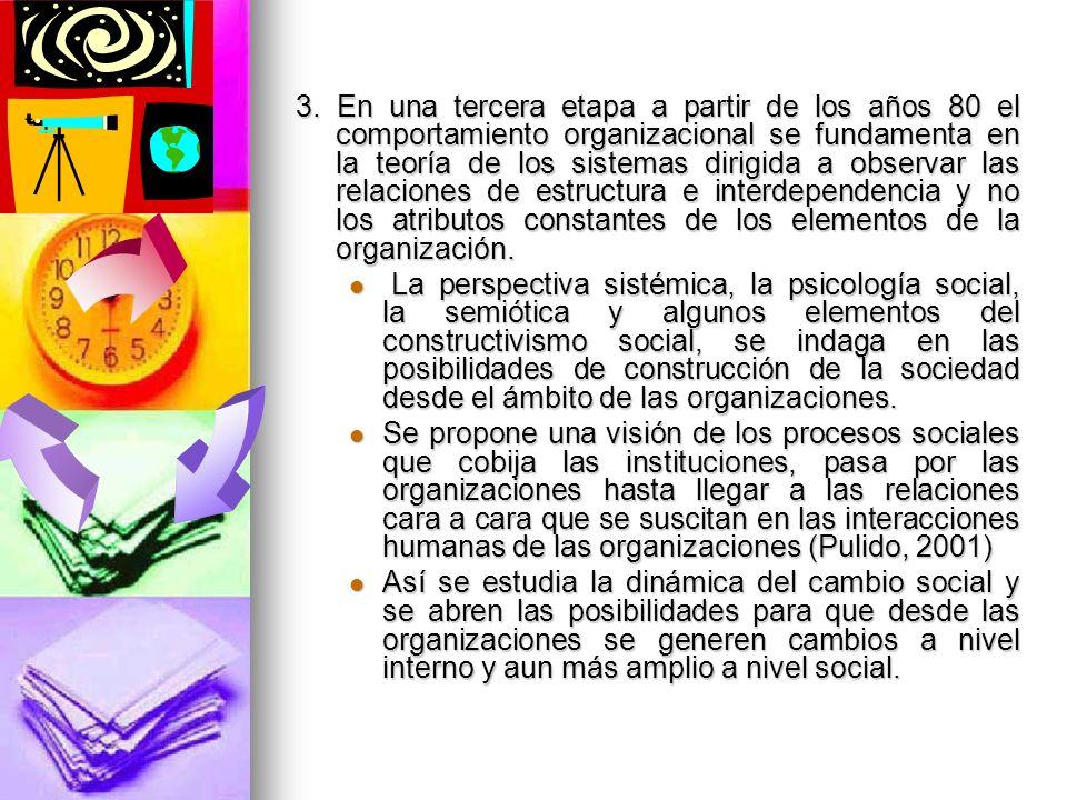3. En una tercera etapa a partir de los años 80 el comportamiento organizacional se fundamenta en la teoría de los sistemas dirigida a observar las re
