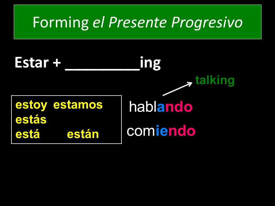 Estar + _________ing estoy estamos estás estáestán comiendo hablando Forming el Presente Progresivo talking