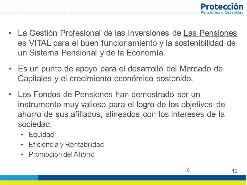 16 La Gestión Profesional de las Inversiones de Las Pensiones es VITAL para el buen funcionamiento y la sostenibilidad de un Sistema Pensional y de la