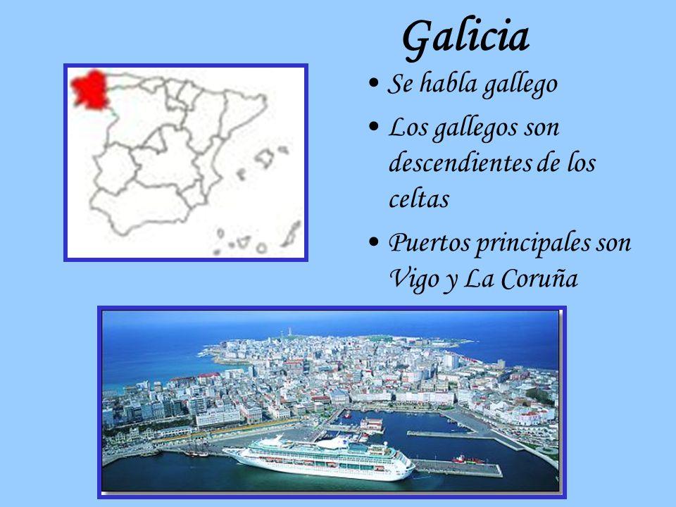 Galicia Se habla gallego Los gallegos son descendientes de los celtas Puertos principales son Vigo y La Coruña