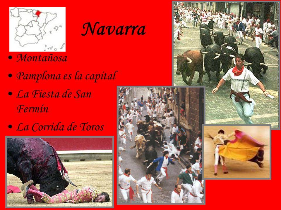 Navarra Montañosa Pamplona es la capital La Fiesta de San Fermín La Corrida de Toros