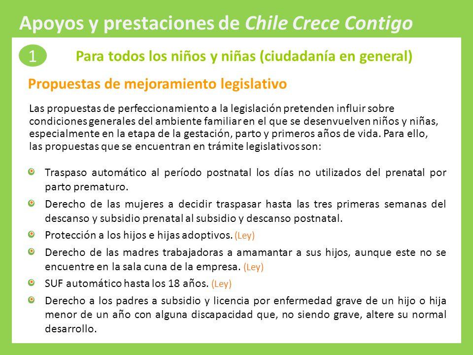 Protección Integral a la Infancia Las propuestas de perfeccionamiento a la legislación pretenden influir sobre condiciones generales del ambiente fami