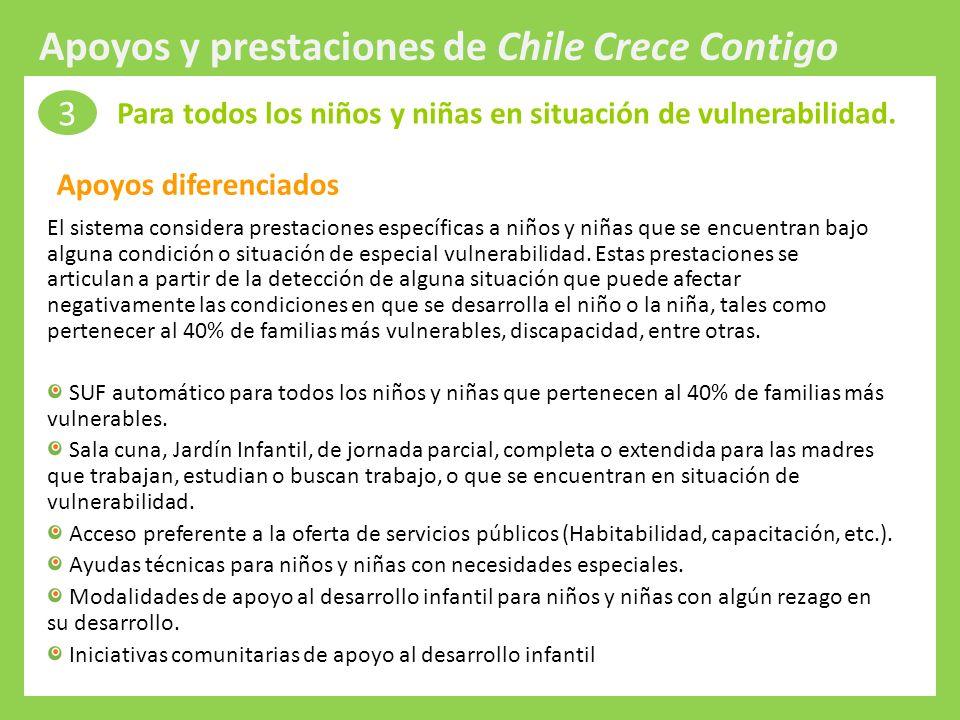 Protección Integral a la Infancia El sistema considera prestaciones específicas a niños y niñas que se encuentran bajo alguna condición o situación de