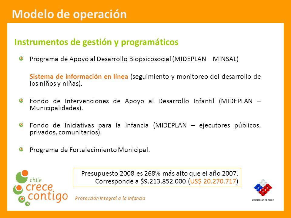 Protección Integral a la Infancia Modelo de operación Instrumentos de gestión y programáticos Programa de Apoyo al Desarrollo Biopsicosocial (MIDEPLAN