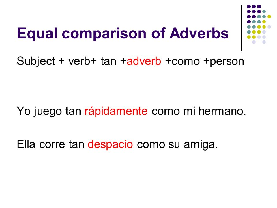 Equal comparison of Adverbs Subject + verb+ tan +adverb +como +person Yo juego tan rápidamente como mi hermano. Ella corre tan despacio como su amiga.