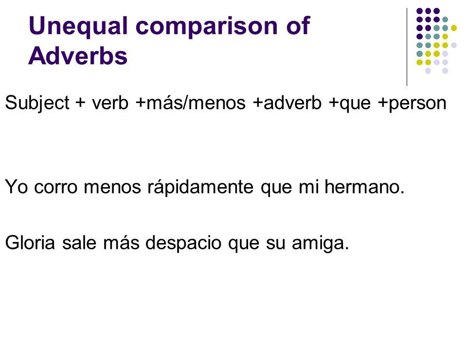 Unequal comparison of Adverbs Subject + verb +más/menos +adverb +que +person Yo corro menos rápidamente que mi hermano.