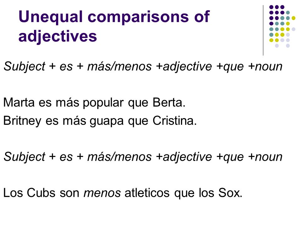 Unequal comparisons of adjectives Subject + es + más/menos +adjective +que +noun Marta es más popular que Berta. Britney es más guapa que Cristina. Su