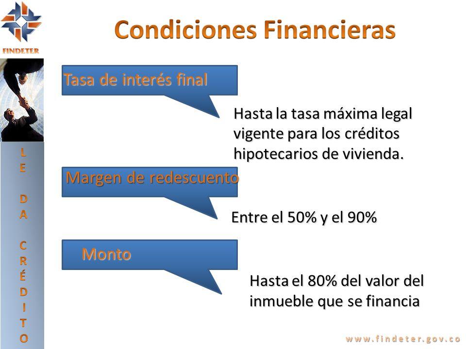 www.findeter.gov.co $ Hasta la tasa máxima legal Hasta la tasa máxima legal vigente para los créditos vigente para los créditos hipotecarios de vivien