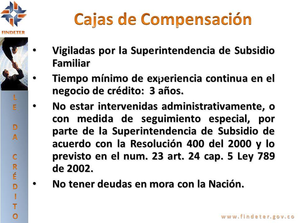 Vigiladas por la Superintendencia de Subsidio Familiar Vigiladas por la Superintendencia de Subsidio Familiar Tiempo mínimo de experiencia continua en