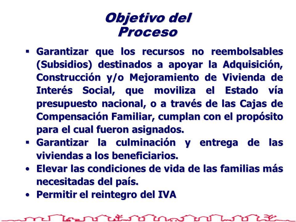Objetivo del Proceso Garantizar que los recursos no reembolsables (Subsidios) destinados a apoyar la Adquisición, Construcción y/o Mejoramiento de Viv