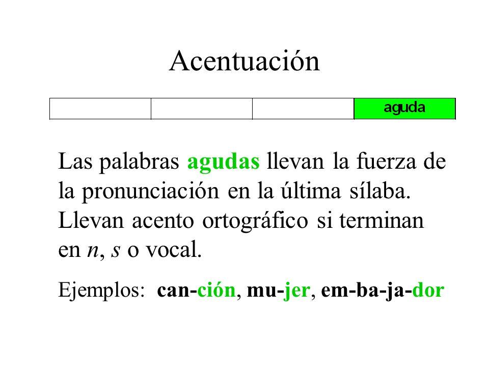 A centuación Todas las palabras tienen una sílaba que tiene más fuerza y se llama la sílaba tónica.