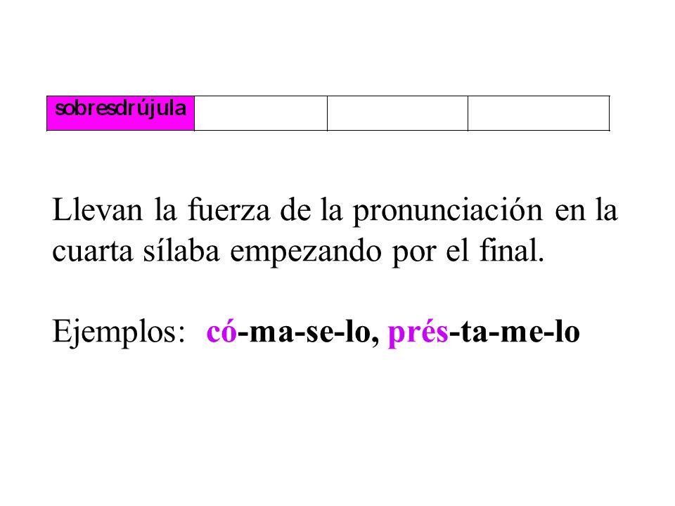 Son esdrújulas las palabras que llevan la fuerza de la pronunciación en la antepenúltima sílaba. Siempre llevan acento ortográfico. Ejemplos: mé-di-co