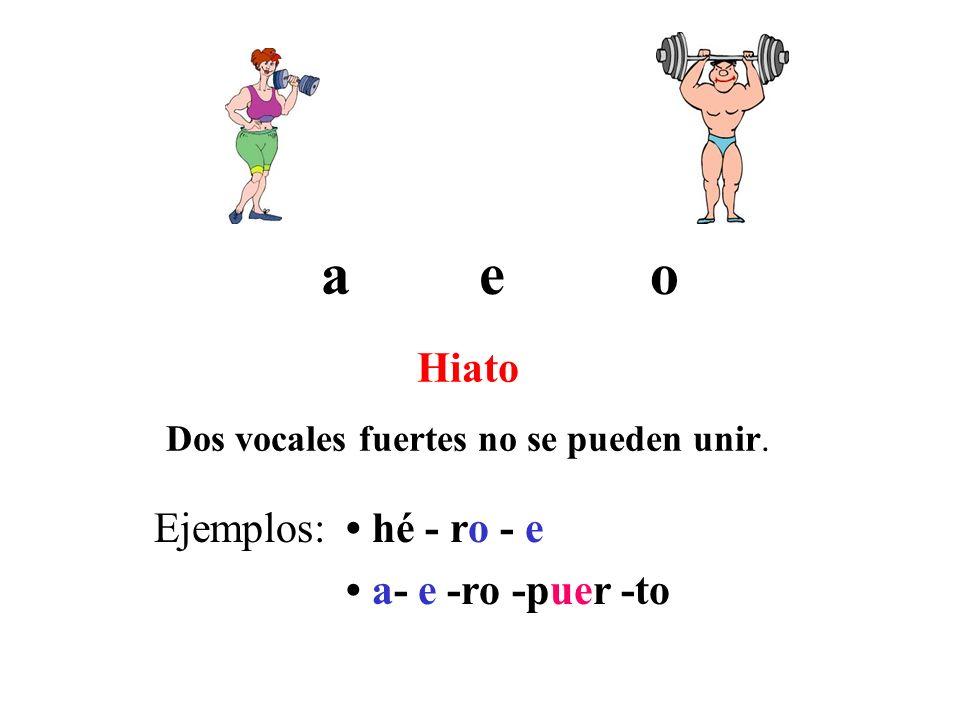 a Hiato Dos vocales fuertes no se pueden unir. eo Ejemplos: hé - ro - e a- e -ro -puer -to