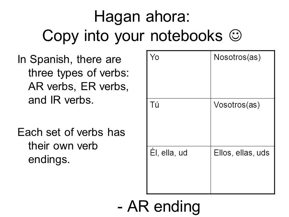 - AR ending In Spanish, there are three types of verbs: AR verbs, ER verbs, and IR verbs. Each set of verbs has their own verb endings. Yo Nosotros(as