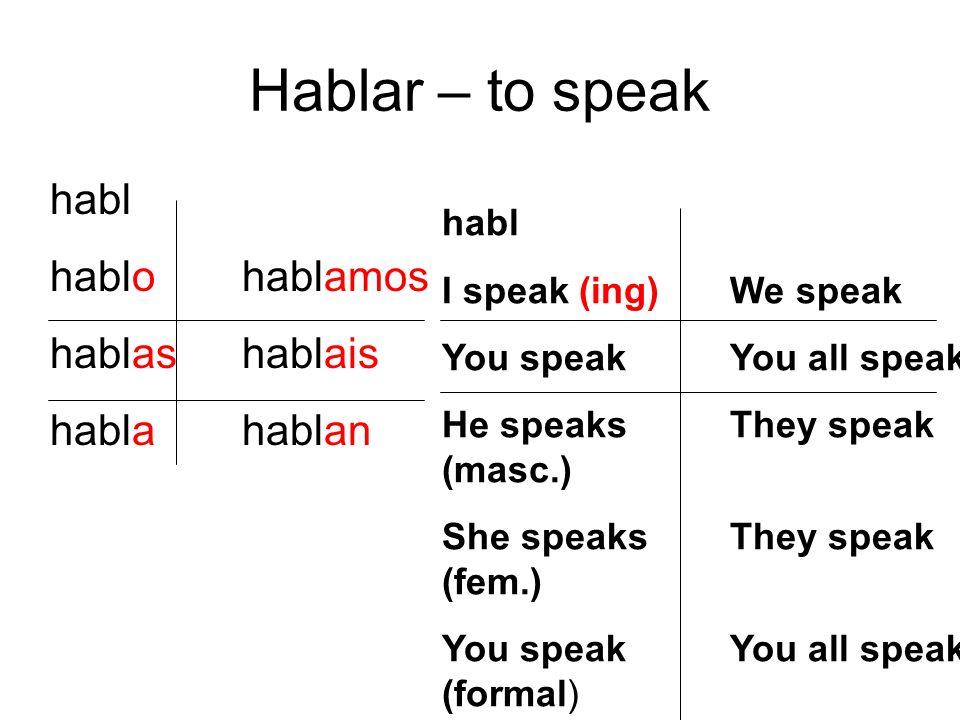 Hablar – to speak habl hablohablamos hablashablais hablahablan habl I speak (ing)We speak You speakYou all speak He speaksThey speak (masc.) She speak