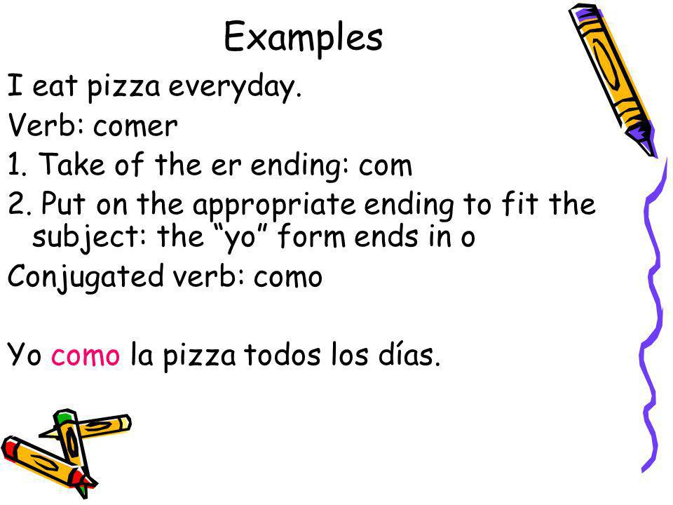 Examples I eat pizza everyday. Verb: comer 1. Take of the er ending: com 2. Put on the appropriate ending to fit the subject: the yo form ends in o Co