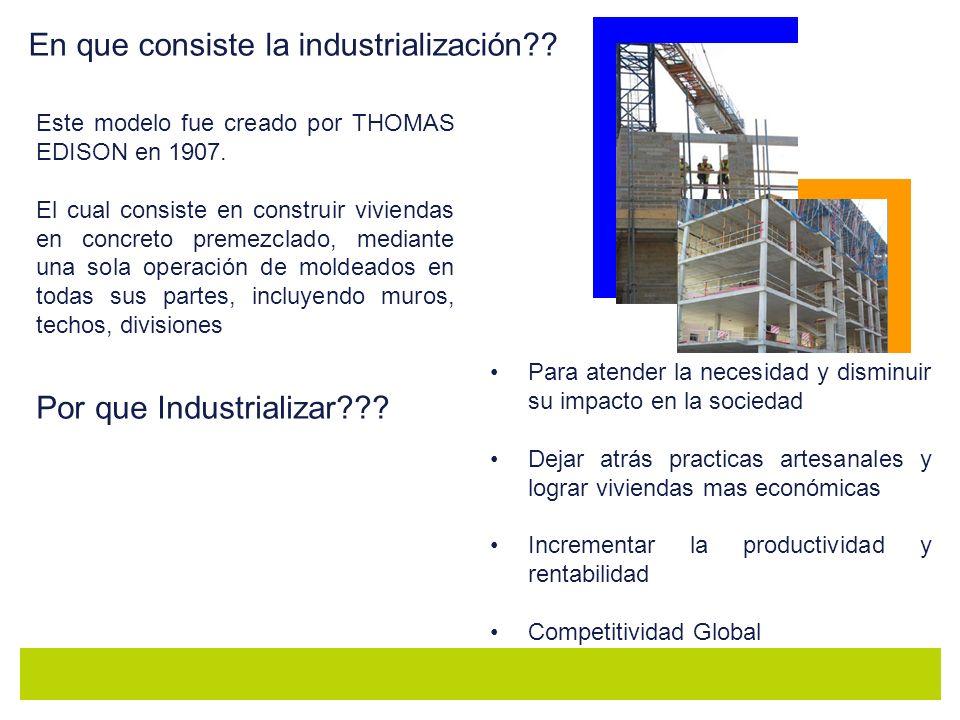 En que consiste la industrialización?? Este modelo fue creado por THOMAS EDISON en 1907. El cual consiste en construir viviendas en concreto premezcla