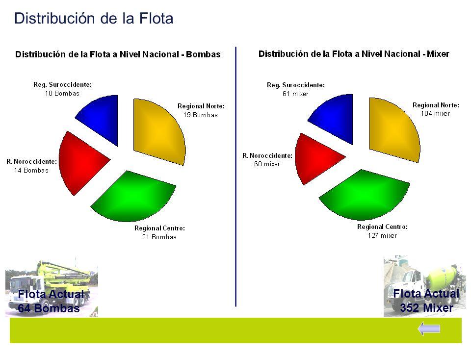Distribución de la Flota Flota Actual 352 Mixer Flota Actual 64 Bombas